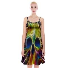 Skulls Multicolor Fractalius Colors Colorful Spaghetti Strap Velvet Dress