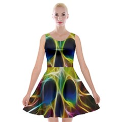 Skulls Multicolor Fractalius Colors Colorful Velvet Skater Dress