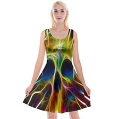 Skulls Multicolor Fractalius Colors Colorful Reversible Velvet Sleeveless Dress