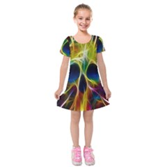 Skulls Multicolor Fractalius Colors Colorful Kids  Short Sleeve Velvet Dress