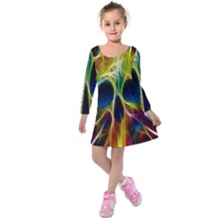 Skulls Multicolor Fractalius Colors Colorful Kids  Long Sleeve Velvet Dress