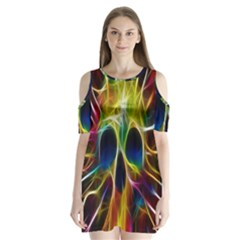 Skulls Multicolor Fractalius Colors Colorful Shoulder Cutout Velvet  One Piece