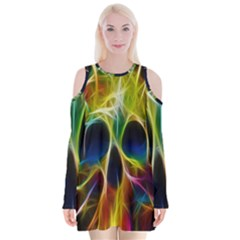 Skulls Multicolor Fractalius Colors Colorful Velvet Long Sleeve Shoulder Cutout Dress
