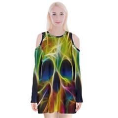 Skulls Multicolor Fractalius Colors Colorful Velvet Long Sleeve Shoulder Cutout Dress