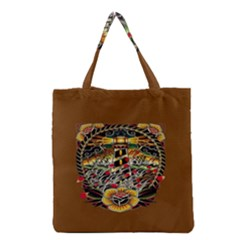 Tattoo Art Print Traditional Artwork Lighthouse Wave Grocery Tote Bag