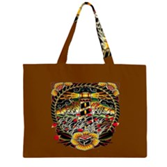 Tattoo Art Print Traditional Artwork Lighthouse Wave Large Tote Bag