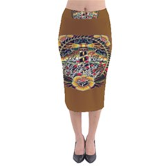 Tattoo Art Print Traditional Artwork Lighthouse Wave Velvet Midi Pencil Skirt