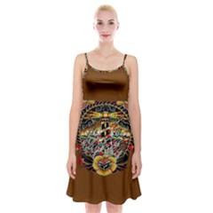 Tattoo Art Print Traditional Artwork Lighthouse Wave Spaghetti Strap Velvet Dress