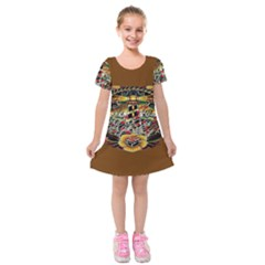 Tattoo Art Print Traditional Artwork Lighthouse Wave Kids  Short Sleeve Velvet Dress