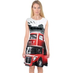London Bus Capsleeve Midi Dress