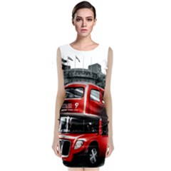 London Bus Sleeveless Velvet Midi Dress