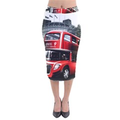 London Bus Velvet Midi Pencil Skirt
