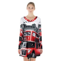 London Bus Long Sleeve Velvet V Neck Dress