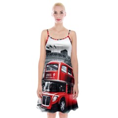 London Bus Spaghetti Strap Velvet Dress