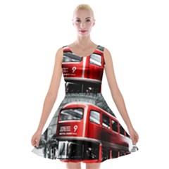 London Bus Velvet Skater Dress