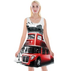 London Bus Reversible Velvet Sleeveless Dress