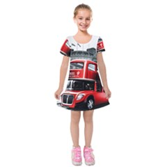 London Bus Kids  Short Sleeve Velvet Dress