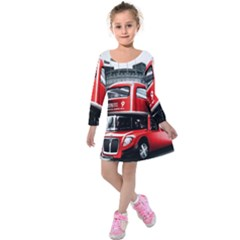 London Bus Kids  Long Sleeve Velvet Dress