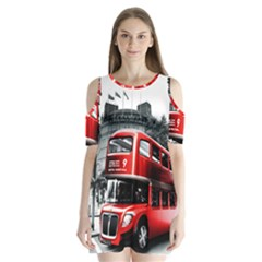 London Bus Shoulder Cutout Velvet  One Piece