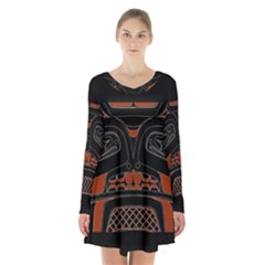 Traditional Northwest Coast Native Art Long Sleeve Velvet V Neck Dress
