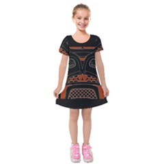 Traditional Northwest Coast Native Art Kids  Short Sleeve Velvet Dress