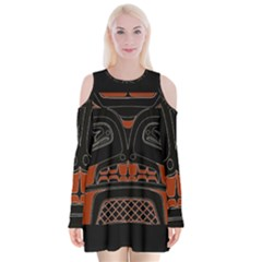 Traditional Northwest Coast Native Art Velvet Long Sleeve Shoulder Cutout Dress
