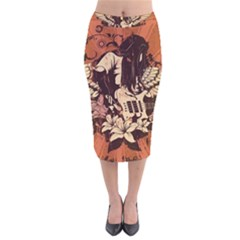 Rock Music Moves Me Velvet Midi Pencil Skirt