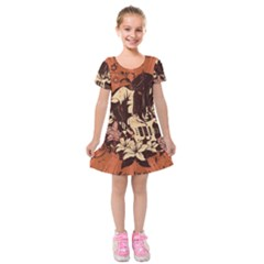 Rock Music Moves Me Kids  Short Sleeve Velvet Dress