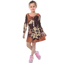 Rock Music Moves Me Kids  Long Sleeve Velvet Dress