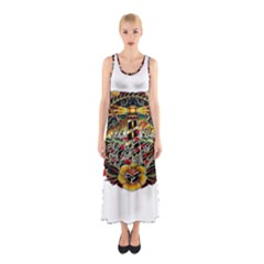 Tattoo Art Print Traditional Artwork Lighthouse Wave Sleeveless Maxi Dress