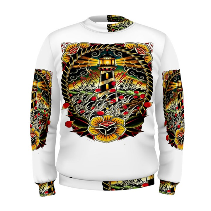 Tattoo Art Print Traditional Artwork Lighthouse Wave Men s Sweatshirt