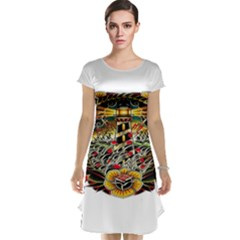 Tattoo Art Print Traditional Artwork Lighthouse Wave Cap Sleeve Nightdress