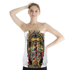 Tattoo Art Print Traditional Artwork Lighthouse Wave Strapless Top