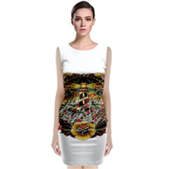 Tattoo Art Print Traditional Artwork Lighthouse Wave Sleeveless Velvet Midi Dress