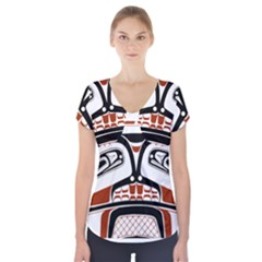 Traditional Northwest Coast Native Art Short Sleeve Front Detail Top