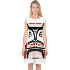 Traditional Northwest Coast Native Art Capsleeve Midi Dress