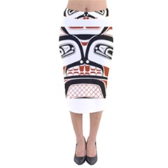 Traditional Northwest Coast Native Art Velvet Midi Pencil Skirt
