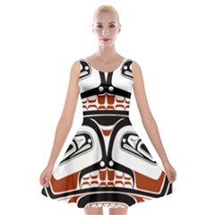 Traditional Northwest Coast Native Art Velvet Skater Dress