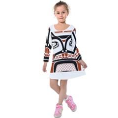 Traditional Northwest Coast Native Art Kids  Long Sleeve Velvet Dress