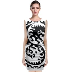 Ying Yang Tattoo Sleeveless Velvet Midi Dress