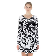 Ying Yang Tattoo Long Sleeve Velvet V Neck Dress