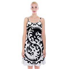 Ying Yang Tattoo Spaghetti Strap Velvet Dress