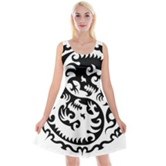 Ying Yang Tattoo Reversible Velvet Sleeveless Dress