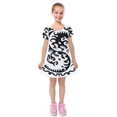 Ying Yang Tattoo Kids  Short Sleeve Velvet Dress