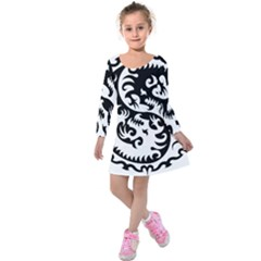 Ying Yang Tattoo Kids  Long Sleeve Velvet Dress
