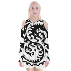 Ying Yang Tattoo Velvet Long Sleeve Shoulder Cutout Dress