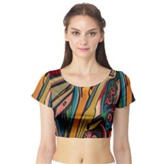 Vivid Colours Short Sleeve Crop Top (Tight Fit)