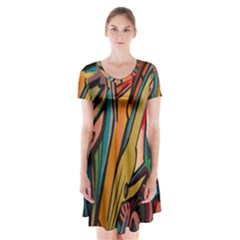 Vivid Colours Short Sleeve V Neck Flare Dress