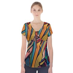 Vivid Colours Short Sleeve Front Detail Top