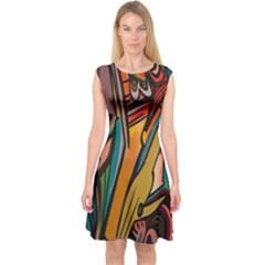 Vivid Colours Capsleeve Midi Dress